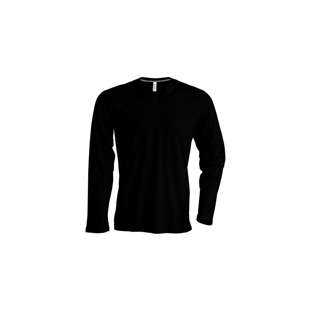 tee shirt col v 100 coton manches longues homme kariban. Black Bedroom Furniture Sets. Home Design Ideas