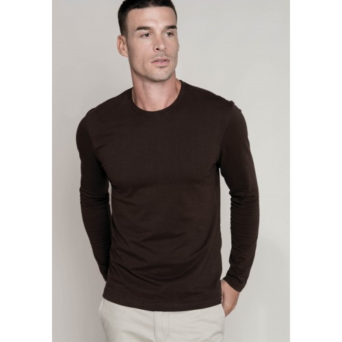 TEE-SHIRT COL ROND 100 % COTON MANCHES LONGUES HOMME KARIBAN