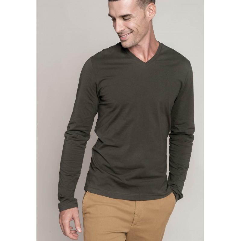 joli design vente discount Style magnifique TEE-SHIRT COL V 100% COTON MANCHES LONGUES HOMME KARIBAN