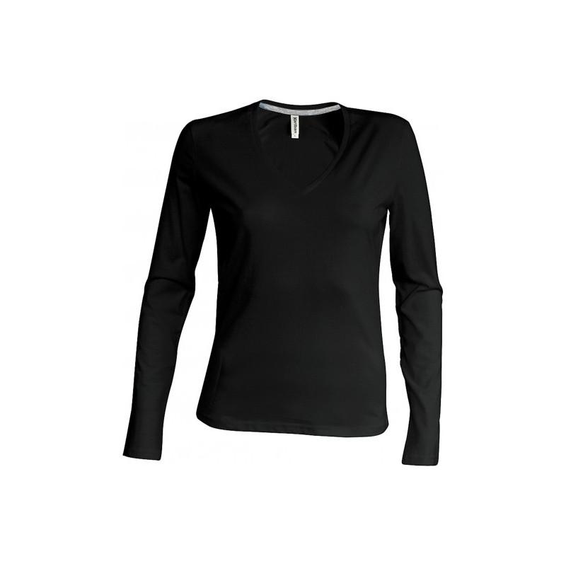 179fefa84c1 TEE-SHIRT COL V 100% COTON MANCHES LONGUES FEMME KARIBAN - K-Industries